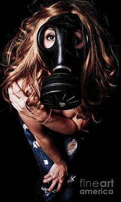 Curvy Nude Photograph - Red Head Gas Mask by Jt PhotoDesign