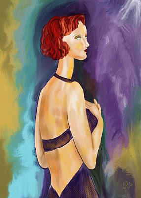 Hairstyle Digital Art - Red Headed Woman by Sydne Archambault