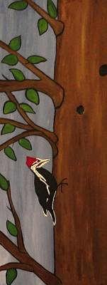 Nature Study Painting - Red Headed Woodpecker by Rachel Olynuk