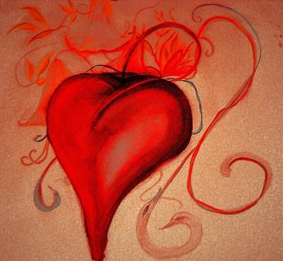 Digital Art - Red Heart And Ribbons by Marian Hebert