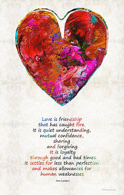 Red Heart Art - Love Is - By Sharon Cummings Art Print