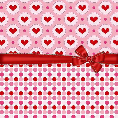 Red Ribbon Digital Art - Red Heart Charm by Debra  Miller