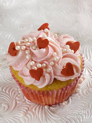 Red Heart Cupcakes  Art Print
