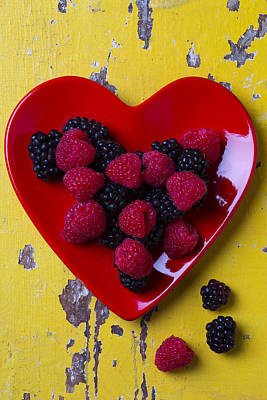 Red Heart Dish And Raspberries Art Print by Garry Gay