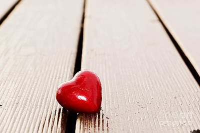 Copy Photograph - Red Heart In Crack Of Wooden Plank by Michal Bednarek