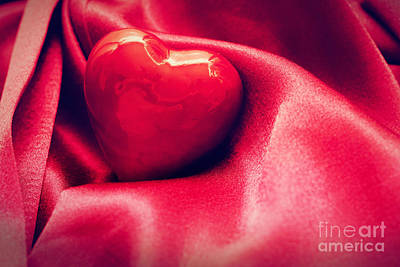 Cloth Photograph - Red Heart In Satin Cloth by Michal Bednarek