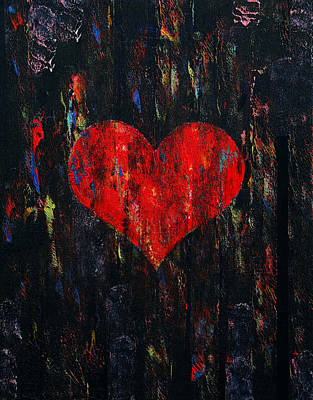 Amor Painting - Red Heart by Michael Creese