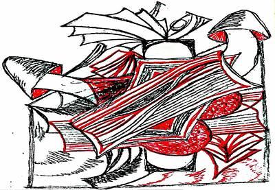 Red Heart Mushroom Art Print by Becky Sterling