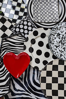 Platter Photograph - Red Heart Plate On Black And White Plates by Garry Gay