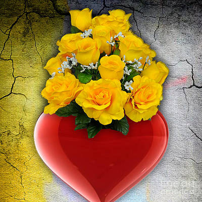 Mixed Media - Red Heart Vase With Yellow Roses by Marvin Blaine