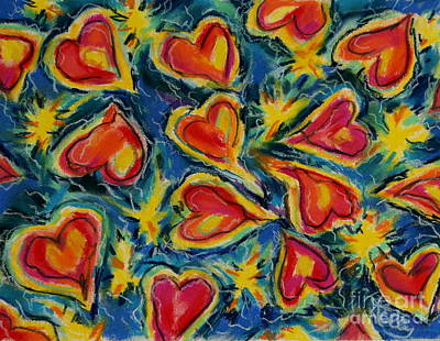 Red Hearts Dancing Art Print by Kelly Athena