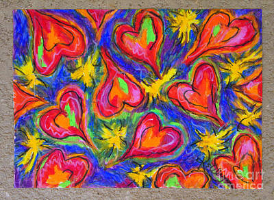 Red Hearts Art Print by Kelly Athena