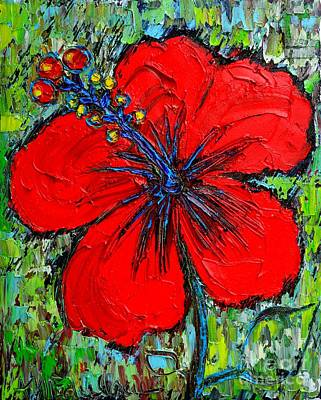 Red Hibiscus Original by Ana Maria Edulescu