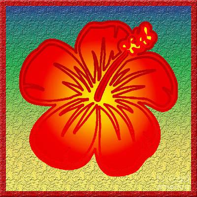 Blooming Digital Art - Red Hibiscus by Gaspar Avila