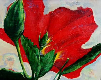 Red Hibiscus Art Print by Jean Cormier