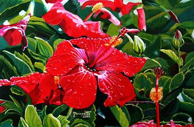 Hibiscus Wall Art - Painting - Red Hibiscus by Marionette Taboniar