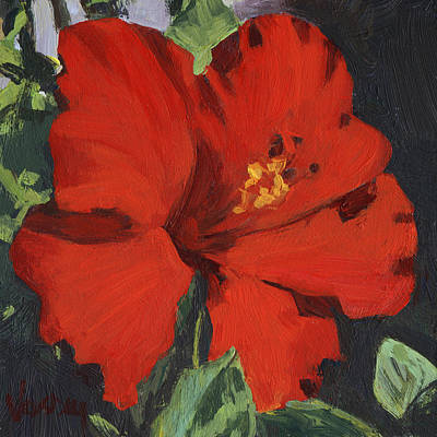 Haleiwa Painting - Red Hibiscus by Stacy Vosberg