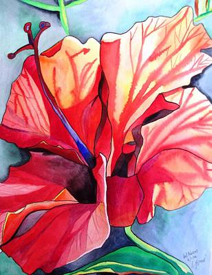 Red Hibiscus Tropical Flower Art Print by Sacha Grossel
