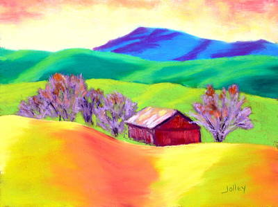 Art Print featuring the painting Red Hill Barn by Nancy Jolley