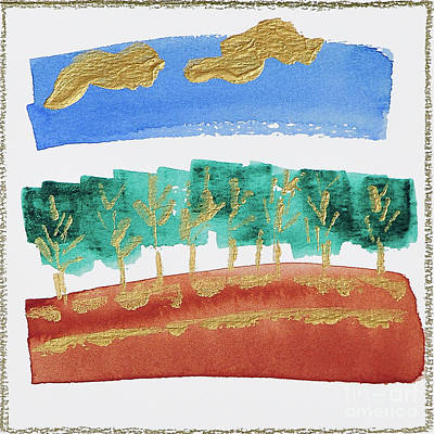 Western Art - Red Hill Blue Sky by Angela Maher