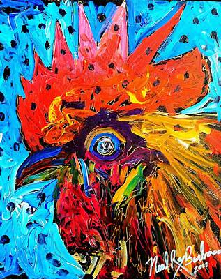 Red Hill Rooster Was Painted During Live Music Art Print by Neal Barbosa