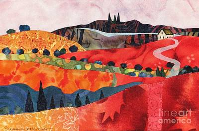 Fabric Mixed Media - Red Hills In Autumn by Susan Minier
