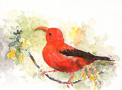 Painting - I'iwi - Hawaiian Red Honeycreeper by Claudia Hafner