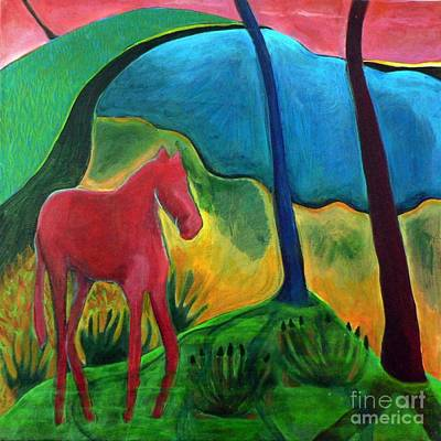 Art Print featuring the painting Red Horse by Elizabeth Fontaine-Barr