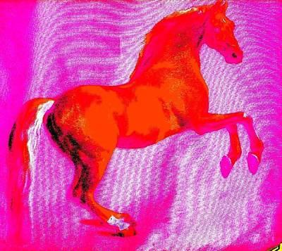 Etc. Digital Art - Red Horse by HollyWood Creation By linda zanini