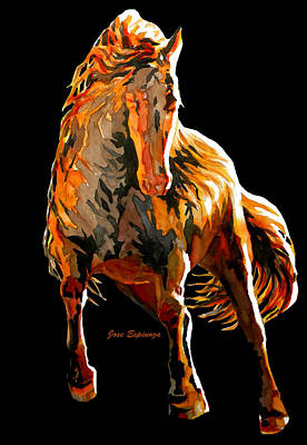 Modern Abstract Art Drawing - Red Horse In Black by J- J- Espinoza