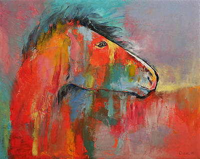 Horse Racing Painting - Red Horse by Michael Creese