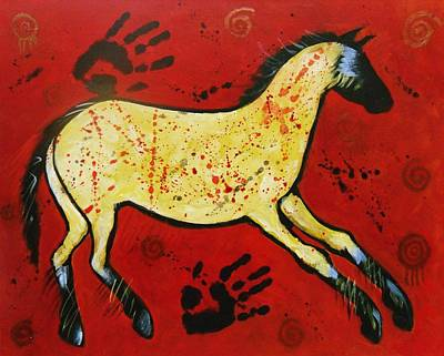 Petroglyph Painting - Red Horse Modern Cave Painting by Carol Suzanne Niebuhr