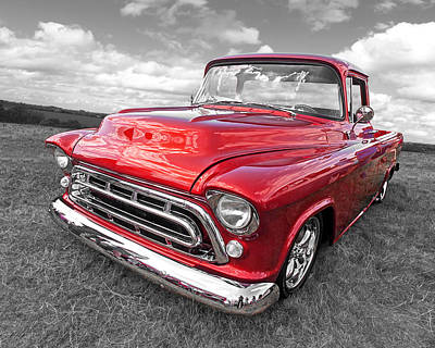 Old Chevy Photograph - Red Hot '57 Chevy by Gill Billington