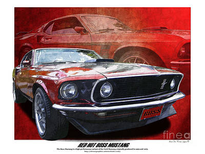 Photograph -  Boss Mustang by Kenneth De Tore