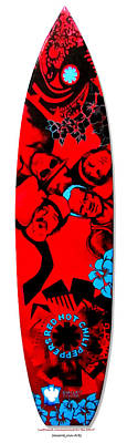 Rhcp Painting - Red Hot Chili Peppers Surfboard by SaxonLynn Arts