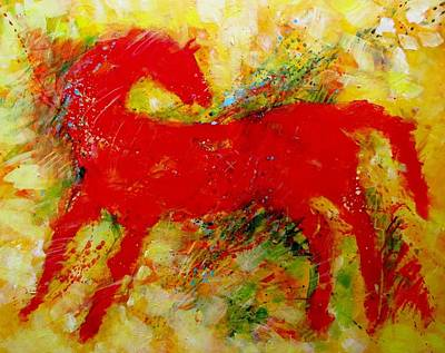 Painting - Red Hot Horse Look Back by Carol Suzanne Niebuhr