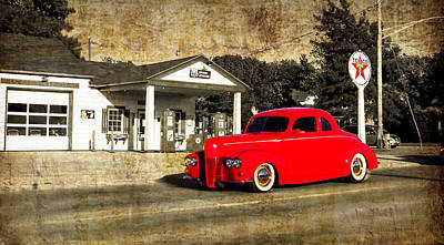 Red Hot Rod Cruising Route 66 Art Print by Thomas Woolworth