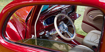 Art Print featuring the photograph Red Hot Rod Interior by Mick Flynn