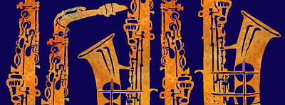 Band Digital Art - Red Hot Sax Keys by Jenny Armitage