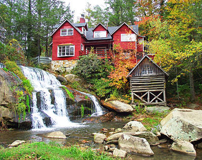 Red House By The Waterfall Art Print