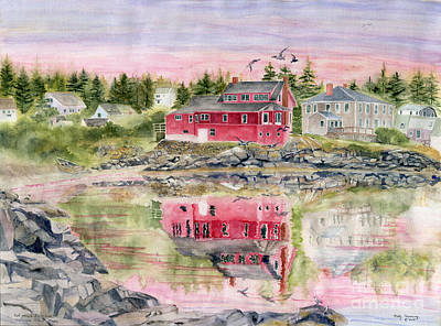 Maine Painting - Red House Reflection by Melly Terpening