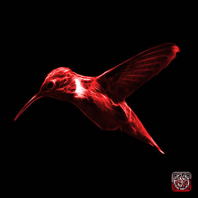 Digital Art - Red Hummingbird - 2054 F by James Ahn