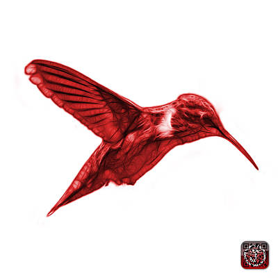Digital Art - Red Hummingbird - 2054 F S by James Ahn