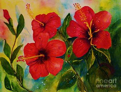 Painting - Red Hybiscus  by Jane Ricker