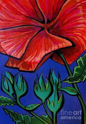 Painting - Red Ibiscus - Botanical by Grace Liberator