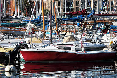 Red In The Port Art Print by John Rizzuto