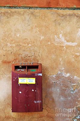 Red Italian  Mailbox On Ochre Wall Art Print