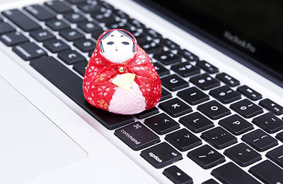 Doll Photograph - Red Japanese Macbook by William Patrick