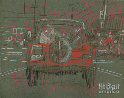Drawing - Red Jeep by Donald Maier