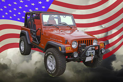 Photograph - Red Jeep Wrangler Rubicon With American Flag by Keith Webber Jr